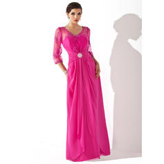 A-Line/Princess V-neck Chiffon 1/2 Sleeves Floor-Length Ruffle Cascading Ruffles Mother of the Bride Dresses