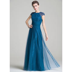 A-Line/Princess Tulle Sleeveless Scoop Neck Floor-Length Zipper Up Mother of the Bride Dresses (008072703)