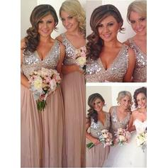 A-Line/Princess Chiffon Sequined Bridesmaid Dresses V-neck Sleeveless Floor-Length (007145045)