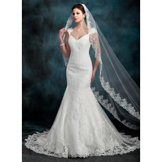 Trompete/Sereia Amada Cauda longa Tule Renda Vestido de noiva com Beading (002000630)