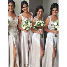 Sheath/Column Floor-Length Satin V-neck Bridesmaid Dresses (007211574)