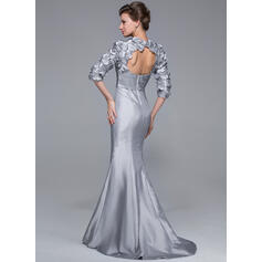 Trompete/Sereia Amada Sweep/Brush trem Tafetá Vestido para a mãe da noiva com Beading fecho de correr (008025721)