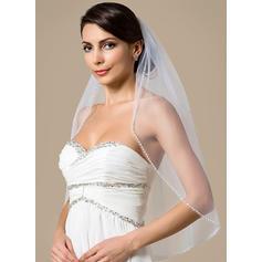 Ellenbogen Braut Schleier Tüll Einschichtig mit Rand mit Perlen mit Perlstickerei/Faux-Perlen Brautschleier