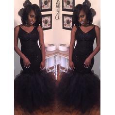 Luxurious Tulle Evening Dresses Trumpet/Mermaid Floor-Length V-neck Sleeveless