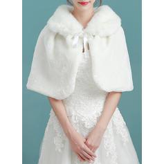 Wrap Bryllup Imitert Pels Elfenben Sjal