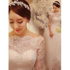 Traîne moyenne Demi-manches Robe Marquise - Tulle Robes de mariée