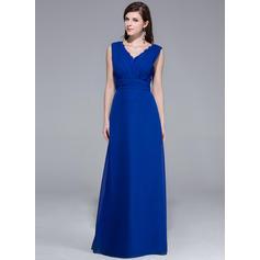 Gorgeous V-neck A-Line/Princess Chiffon Evening Dresses (017201199)