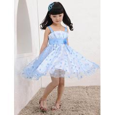 Escote Cuadrado Corte A/Princesa Vestidos para niña de arras Tul Flores Sin mangas Hasta la rodilla