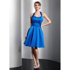 Chic Satin Sleeveless Halter Ruffle Flower(s) Homecoming Dresses (022213992)