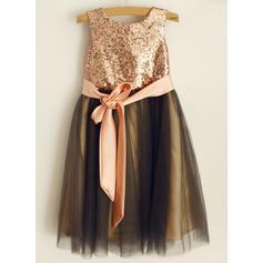 Fashion Scoop Neck Ball Gown Flower Girl Dresses Tea-length Tulle/Sequined Sleeveless (010196717)