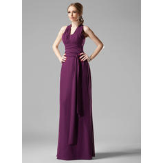 Sheath/Column Chiffon Bridesmaid Dresses Ruffle V-neck Sleeveless Floor-Length
