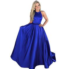 A-Line/Princess Halter Sweep Train Satin Evening Dresses With Beading (017217194)