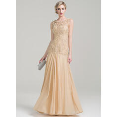 A-Line Scoop Neck Floor-Length Chiffon Lace Mother of the Bride Dress With Beading Sequins (008085283)