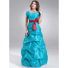 A-Line/Princess Taffeta Bridesmaid Dresses Ruffle Sash Bow(s) Square Neckline Short Sleeves Floor-Length (007000958)