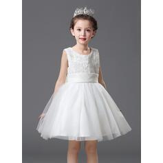 Vestidos princesa/ Formato A Coquetel Vestidos de Menina das Flores - Organza de/Cetim/Renda Sem magas Decote redondo com fecho de correr (010093515)