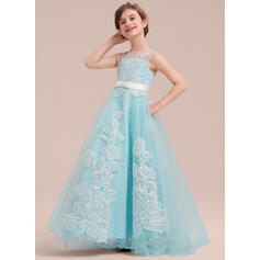 Ball Gown Sweep Train Flower Girl Dress - Satin/Tulle/Lace Sleeveless Scoop Neck With Beading/Bow(s)