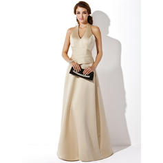 Satin Sleeveless A-Line/Princess Bridesmaid Dresses Halter Floor-Length