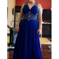 Chiffon Sleeveless A-Line/Princess Prom Dresses V-neck Beading Floor-Length