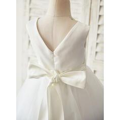 Forme Princesse Longueur genou Robes à Fleurs pour Filles - Satiné/Tulle Sans manches Col rond avec Brodé/Strass (bande détachable) (010144111)