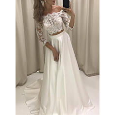 A-Line/Princess Satin 3/4 Length Sleeves Off-The-Shoulder Court Train Wedding Dresses