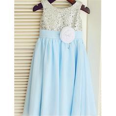 Escote redondo Corte A/Princesa Vestidos para niña de arras Flores Sin mangas Hasta el tobillo (010212001)