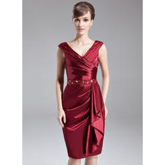 Sheath/Column Charmeuse Sleeveless V-neck Knee-Length Zipper Up at Side Mother of the Bride Dresses