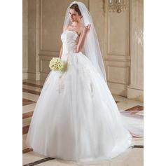 Velos de novia catedral Tul Dos capas Velo cascada con Corte de borde Velos de novia