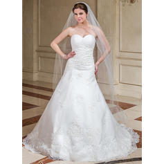 Cathedral Bridal Veils Tulle One-tier Classic With Scalloped Edge Wedding Veils