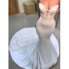 Simple Court Train Trumpet/Mermaid Wedding Dresses Sweetheart Satin Sleeveless