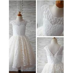 Sexy Ankle-length A-Line/Princess Flower Girl Dresses Scoop Neck Lace Sleeveless