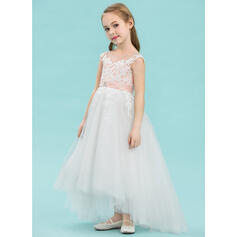 Vestidos princesa/ Formato A Assimétrico Vestidos de Menina das Flores - Cetim/Tule/Renda Sem magas Decote redondo com Beading (010143244)