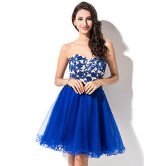 A-Line/Princess Sweetheart Short/Mini Homecoming Dresses With Beading Appliques Lace Sequins (022214025)