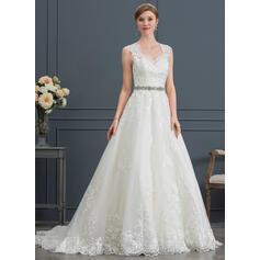 De Baile/Princesa Decote V Cauda de sereia Tule Vestido de noiva (002171952)