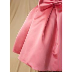 Robe Marquise Longueur genou Robes à Fleurs pour Filles - Satiné Sans manches Col rond avec À ruban(s) (010094044)