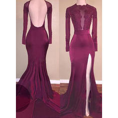 Trumpet/Mermaid Jersey Prom Dresses Beading Appliques Lace Split Front Scoop Neck Long Sleeves Sweep Train