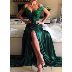 Charmeuse Sleeveless A-Line/Princess Prom Dresses Off-the-Shoulder Beading Split Front Sweep Train