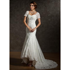 Trumpet/Mermaid Sweetheart Asymmetrical Wedding Dresses With Ruffle Lace Beading