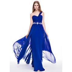 Chiffon Regular Straps One-Shoulder A-Line/Princess Prom Dresses (018056771)