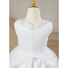 Robe Marquise Longueur genou Robes à Fleurs pour Filles - Satiné/Tulle Sans manches Col rond avec Brodé/À ruban(s) (010094048)