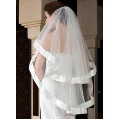 Waltz Bridal Veils Tulle One-tier Angel cut/Waterfall/Cascade With Ribbon Edge Wedding Veils
