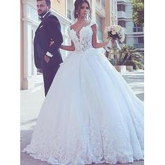 General Plus Ball-Gown Tulle Glamorous Wedding Dresses With Sleeveless