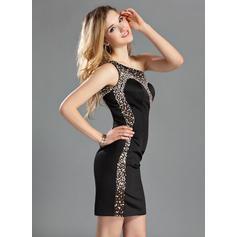 Un hombro Vestido tubo Sin mangas Halagador Satén Baile de promoción (016210432)