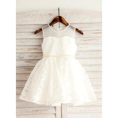 A-Line/Princess Short/Mini Flower Girl Dress - Lace Sleeveless Scoop Neck With Beading (010092668)