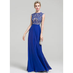A-Line/Princess Scoop Neck Floor-Length Chiffon Evening Dress (017093458)