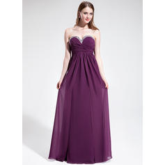 Chiffon Sleeveless Empire Prom Dresses Sweetheart Ruffle Beading Floor-Length