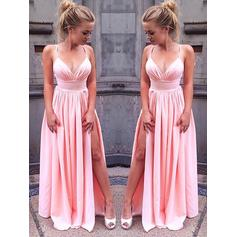 Chiffon Sleeveless A-Line/Princess Prom Dresses V-neck Split Front Floor-Length