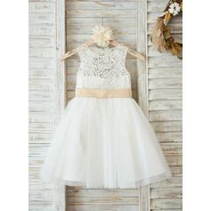 Vestidos princesa/ Formato A Coquetel Vestidos de Menina das Flores - Cetim/Tule/Renda Sem magas Decote redondo com Cintos/Curvado/Buraco de volta (010090576)
