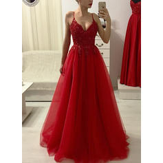 Tulle Sleeveless A-Line/Princess Prom Dresses V-neck Beading Appliques Lace Floor-Length