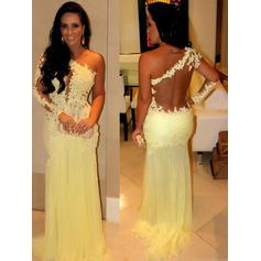 Sheath/Column Chiffon Prom Dresses Newest Sweep Train One-Shoulder Long Sleeves (018210284)