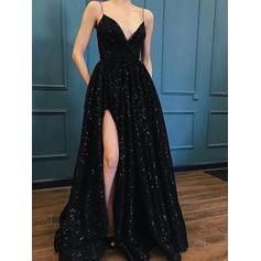 Beautiful Sequined Evening Dresses A-Line/Princess Sweep Train V-neck Sleeveless